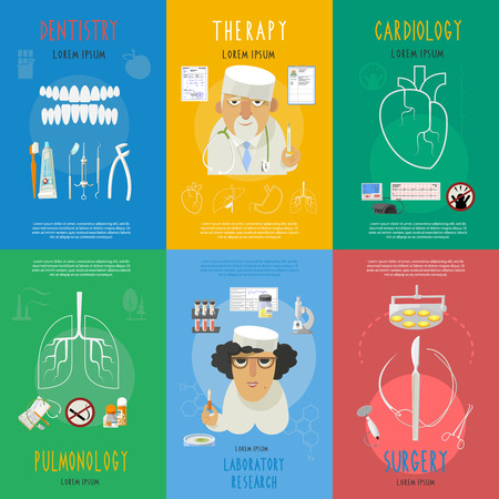 surgery concept: Medicine flat infographic icons composition of dental surgery and cardiologist doctor cartoon character poster abstract vector illustration. Illustration