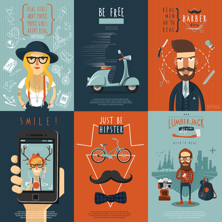 barber scissors: Real free hipster in skinny jeans barber shop scooter flat icons composition poster abstract isolated vector illustration