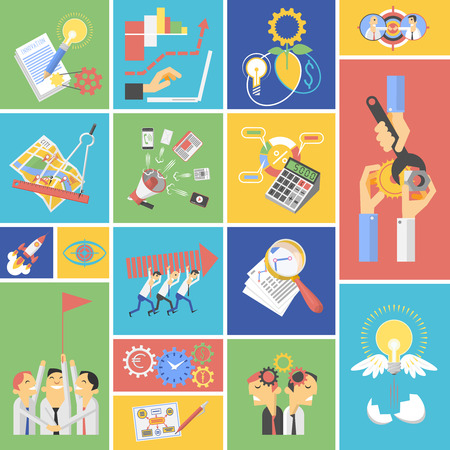 work environment: Global environment green energy saving startup teamwork strategy concept flat icons composition set abstract isolated vector illustration