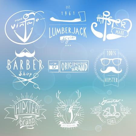 maderas: Etiquetas blancas originales Hipster en fondo azul con el hacha madera y aislado c�mara ilustraci�n vectorial abstracto de la vendimia