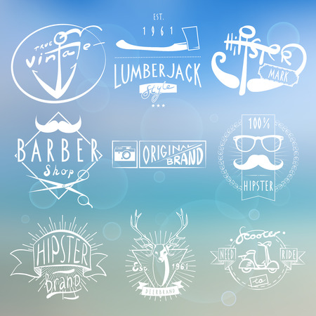 original bike: Hipster original white labels on blue background with lumber ax and vintage camera  abstract vector isolated illustration