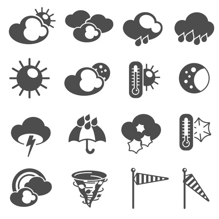 stormy clouds: Weather forecast symbols black pictograms set with thermometer and stormy clouds icons abstract graphic isolated vector illustration