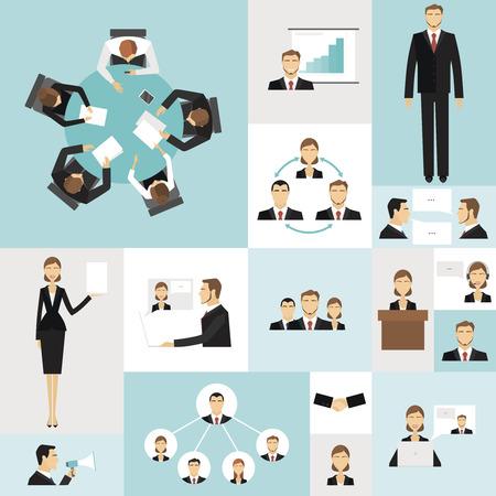 Le icone variopinte di riunione d'affari messe dei simboli di successo del lancio dei soldi di tempo vector l'illustrazione. Vettoriali