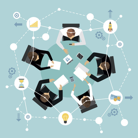 Reunião de gestão de negócios e conceito de brainstorming com pessoas na mesa-redonda na ilustração vetorial de vista superior
