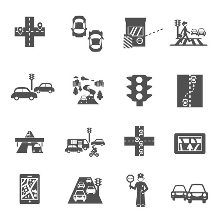 website traffic: Traffic icons black set with cars navigation and policeman isolated vector illustration