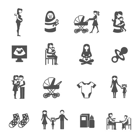 Motherhood mother and child black icons set isolated vector illustration