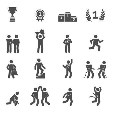 Competition icons black set with peak performance victory top symbols isolated vector illustration