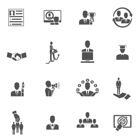 work in progress: Career steps work progress staff training black icons set isolated vector illustration