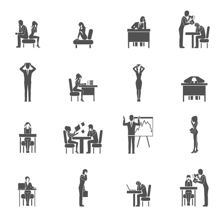 overloaded: Depression sadness and desperation black icon set isolated vector illustration