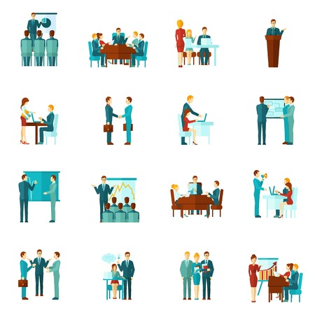 business scene: Business training conference and presentation flat icons set isolated vector illustration Illustration