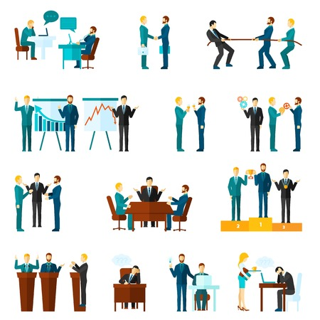 discussion meeting: Business collaboration teamwork and agreement flat icons set isolated vector illustration