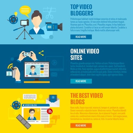 Video blog horizontal banners set with online video elements isolated vector illustration