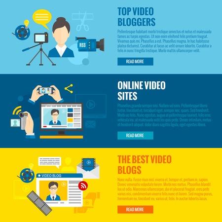 blog vidéo bannières horizontaux fixés avec des éléments de vidéo en ligne isolé illustration vectorielle
