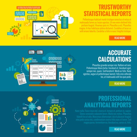 business center: Data analytics horizontal banner set with statistics reports and calculations flat elements isolated vector illustration