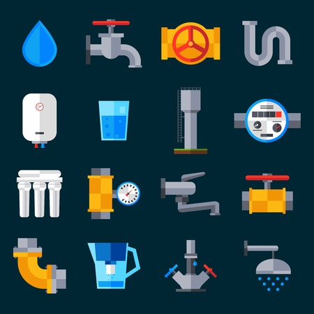 bathroom sink: Water supply icons set with bathroom sink and shower equipment isolated vector illustration