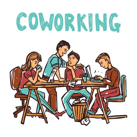 workgroup: Coworking center with business workgroup at the table sketch vector illustration