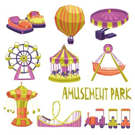 caida libre: Parque de atracciones de feria atracción iconos carnaval de verano conjunto aislado ilustración vectorial
