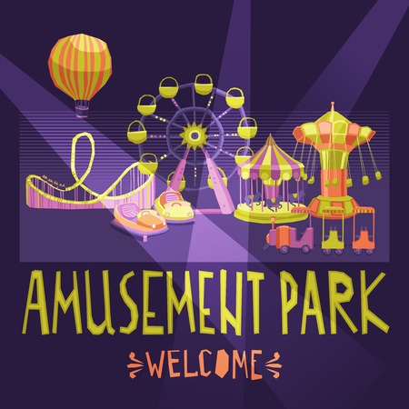Amusement park welcome poster with extreme and entertainment attractions vector illustration