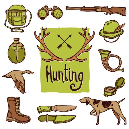 Hunting hand drawn icons set with dog weapon deer horns isolated vector illustration