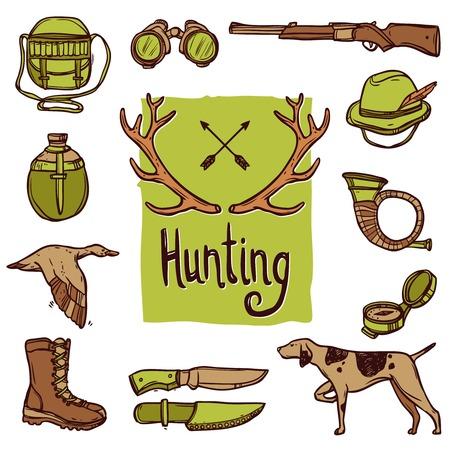 Jacht hand getekende pictogrammen die met geïsoleerd hond wapen herten horens vector illustratie