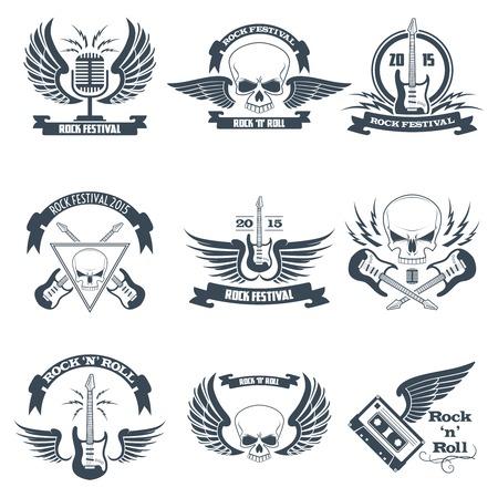 metales: Emblemas cinta de música rock establecidos con los cráneos alas guitarras aislados ilustración vectorial Vectores