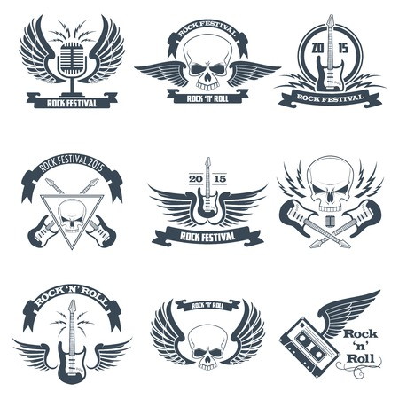 heavy: Rock music ribbon emblems set with skulls wings guitars isolated vector illustration