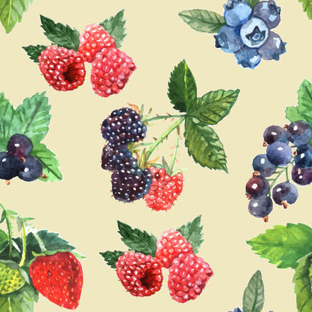 scrapbook cover: Berry seamless pattern with strawberry raspberry black currant vector illustration Illustration