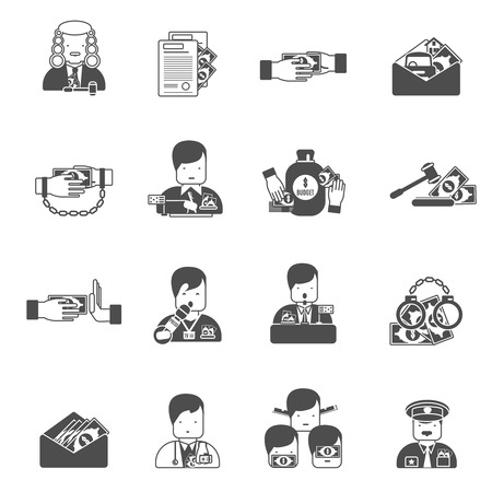 Corruption black icons set with bribe prison budget isolated vector illustration Vector