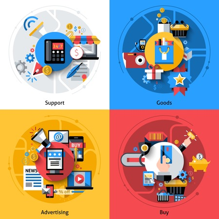 E-commerce design concept set with support goods advertising buy flat icons isolated vector illustration