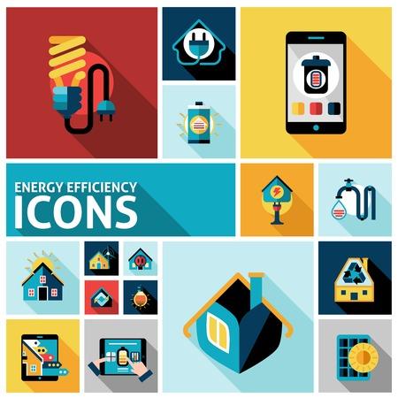 energia electrica: Eficiencia energ�tica iconos del sistema domiciliario conjunto aislado ilustraci�n vectorial