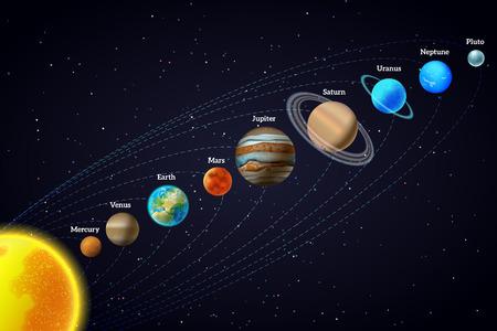 educativo: Los planetas que orbitan alrededor de la diagonal diseño dom astronomía educativa bandera ayuda con el fondo negro resumen ilustración vectorial
