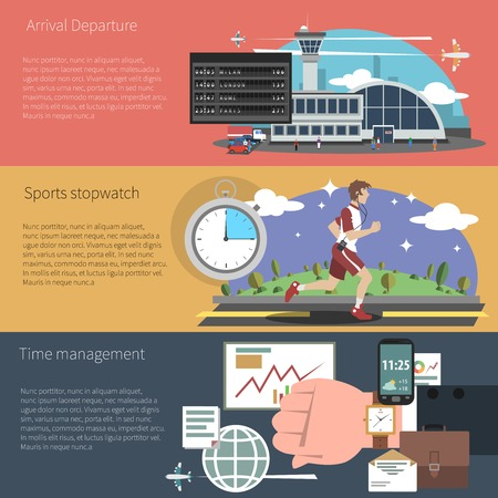 airport people: Time banner horizontal set with sports travel and business time management elements isolated vector illustration