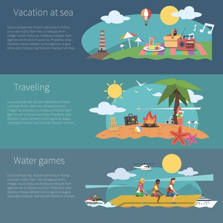 vacation: Summer horizontal banner set with vacation at sea traveling water games elements isolated vector illustration Illustration