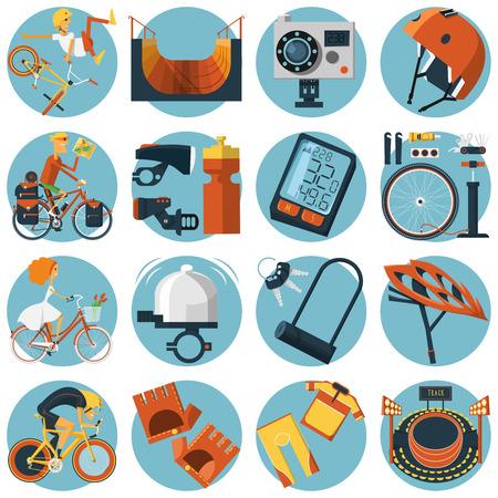 Bergweg en de stad fietsen rijden sportieve lifestyle accessoires platte ronde iconen collectie abstract vector geïsoleerde illustratie