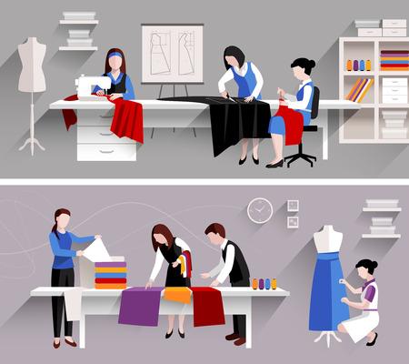 coser: Estudio de coser plantilla de diseño sastrería establece ilustración vectorial aislado Vectores