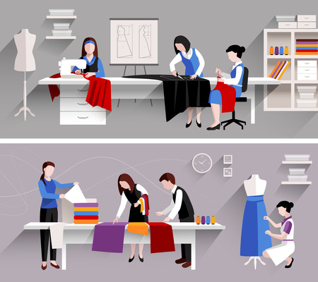tailor suit: Sewing studio tailor shop design template set isolated vector illustration