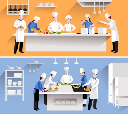 chefs: Cooking process with chef figures at the table in restaurant kitchen interior isolated vector illustration