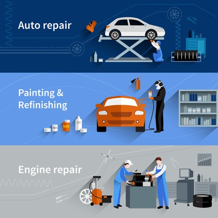 car in garage: Mechanic horizontal banners set with auto engine repair elements isolated vector illustration