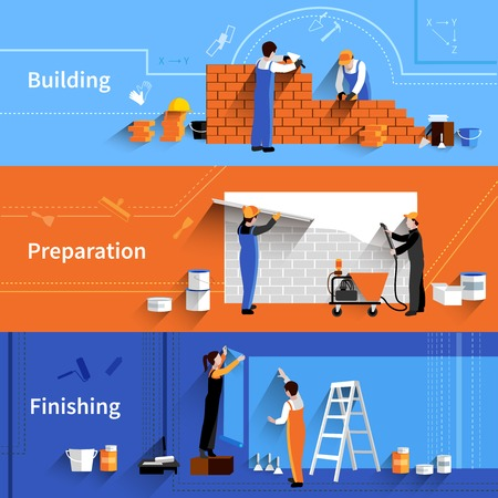 Worker horizontal banner set with building preparation and finishing work elements isolated vector illustration