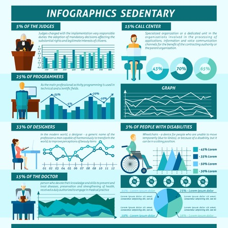 inactive: Sedentary infographics set with passive inactive work and lifestyle information vector illustration