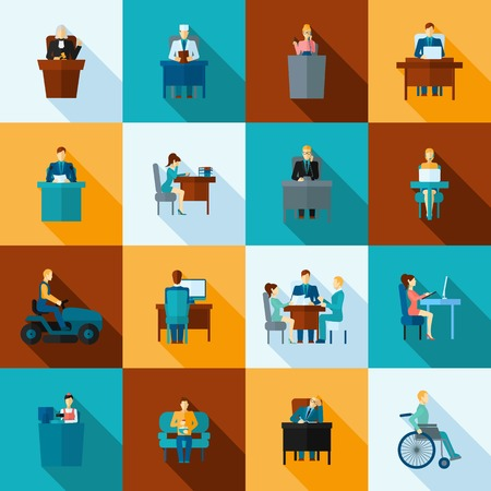 Sedentary lifestyle low mobility work and living icon flat set isolated vector illustration