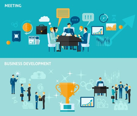 employee development: Business horizontal banner set with meeting and development elements isolated vector illustration