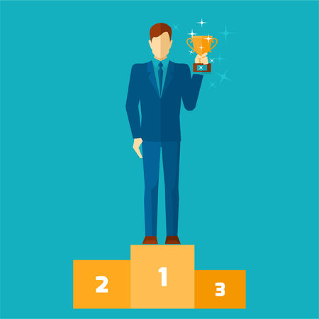 winners podium: Business man on podium holding a gold cup flat vector illustration Illustration
