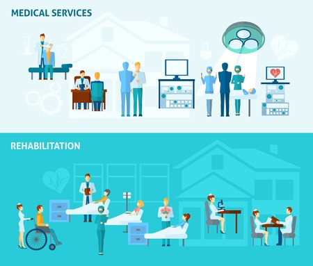 Doctors horizontal banner set with medical service and rehabilitation elements isolated vector illustration Çizim