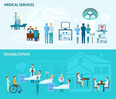 hospitales: Los médicos banner horizontal conjunto con elementos de servicios médicos y de rehabilitación aislada ilustración vectorial Vectores