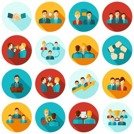 gente trabajando: Trabajo en equipo de negocios grupos de trabajo iconos de comunicación plana conjunto aislado ilustración vectorial Vectores