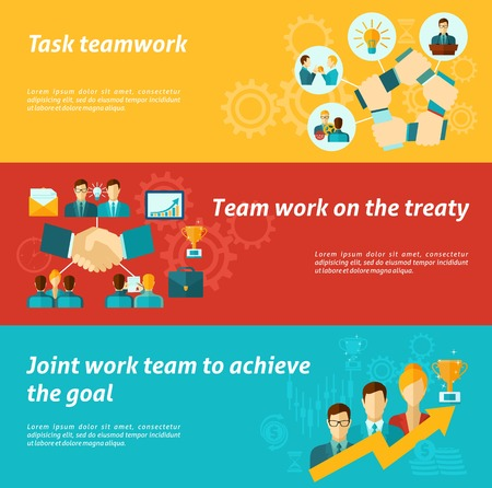 work task: Teamwork banner set with business team organization work success elements isolated vector illustration