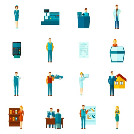 telephone salesman: Salesman shopman and realtors figures icons flat set isolated vector illustration