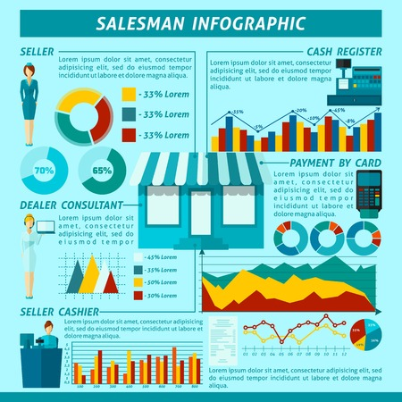 Salesman infographics set with shopping symbols and charts vector illustration