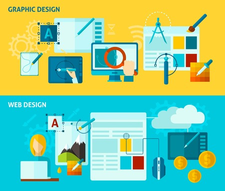 set design: Graphic and web design horizontal banner set with flat elements isolated vector illustration